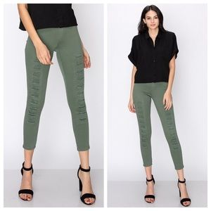 sewchicboutique Pants - Destroyed Green Jeggings